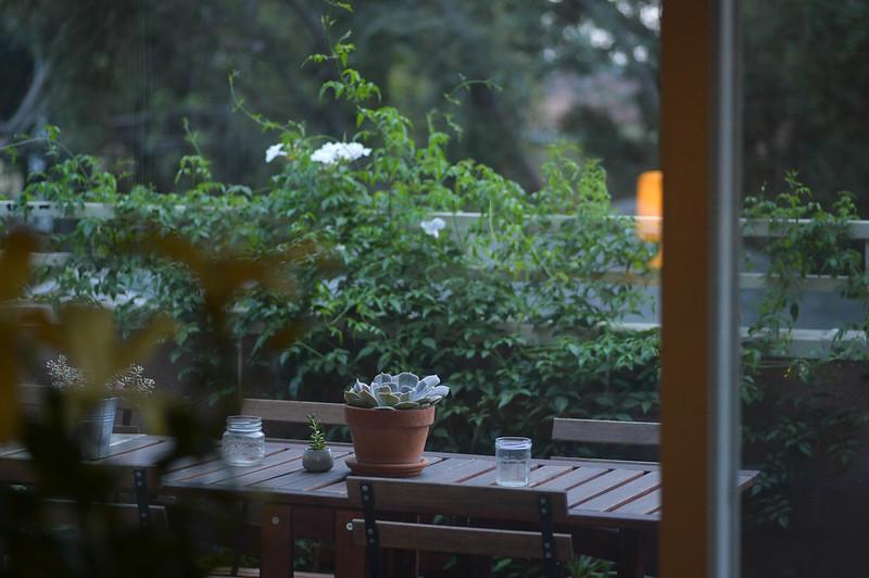 patio, dusk