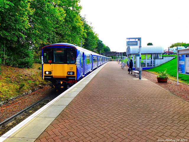 Scotland West Highlands Argyll Loch Lomond a ScotRall Blue train to Glasgow arriving at Balloch station 14 September 2017 by Anne MacKay