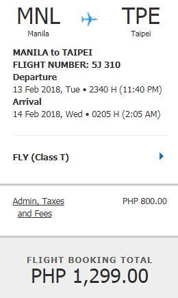 Manila to Taipei Cebu Pacific Air Promo February 13, 2018