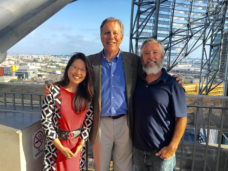 Poets  Karen An-hwei Lee and Michael Klam with DG on the rooftop plaza of the new San Diego Library building