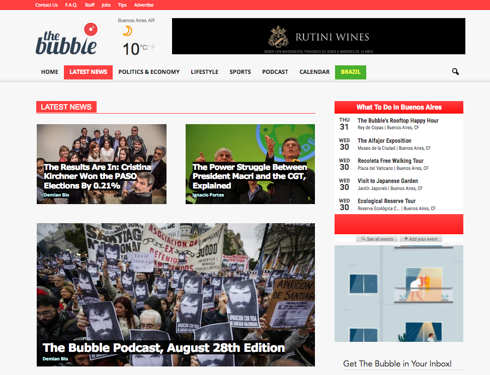 Argentinas the bubble wants to spread english language news model english language digital news site the bubble started publishing in argentina in 2013 screenshot thecheapjerseys