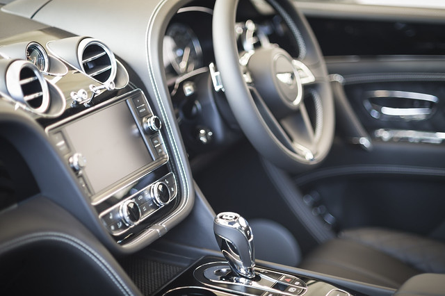 Bentley car interior with electronic dashboard