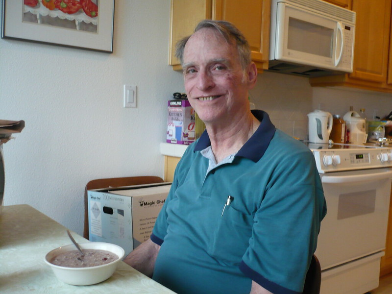Dad smiling with oatmeal