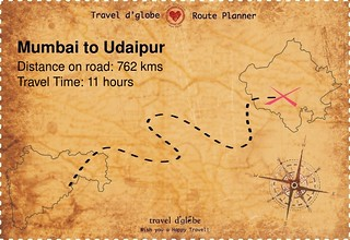 Map from Mumbai to Udaipur