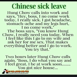 Chines sick leave.