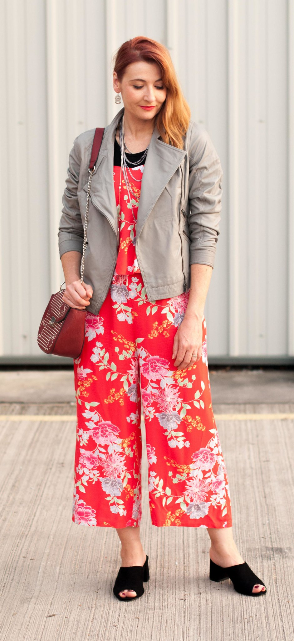 Daytime/weekend casual outfit: Grey leather biker jacket black t-shirt red floral cropped wide leg jumpsuit black mules | Not Dressed As Lamb, over 40 style