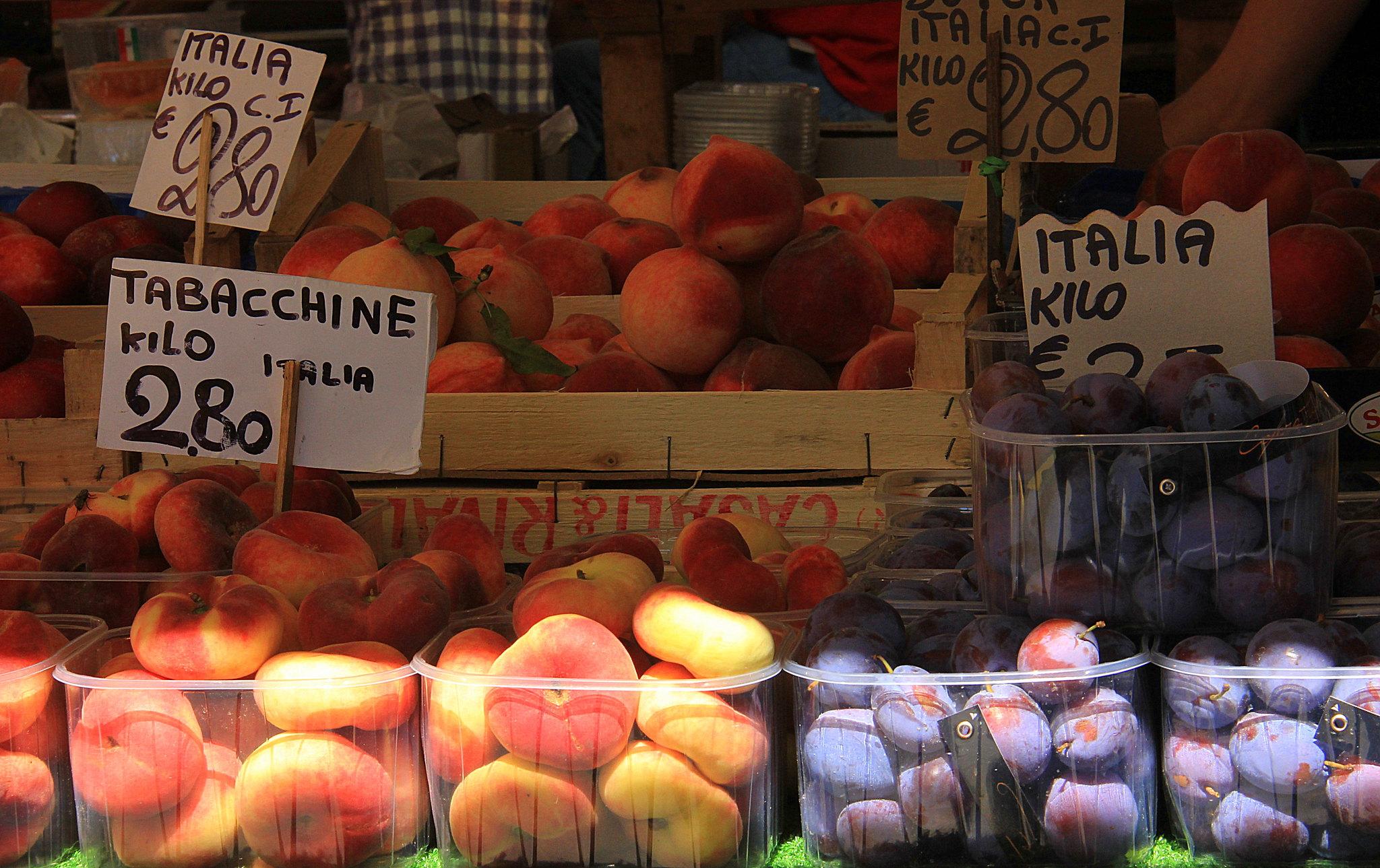 Fruits are also sold at Erberia at the Rialto Markets in Venice