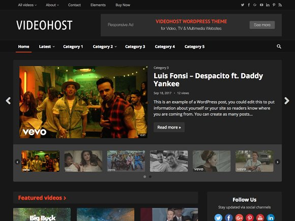 VideoHost v1.0 – WordPress Video Theme