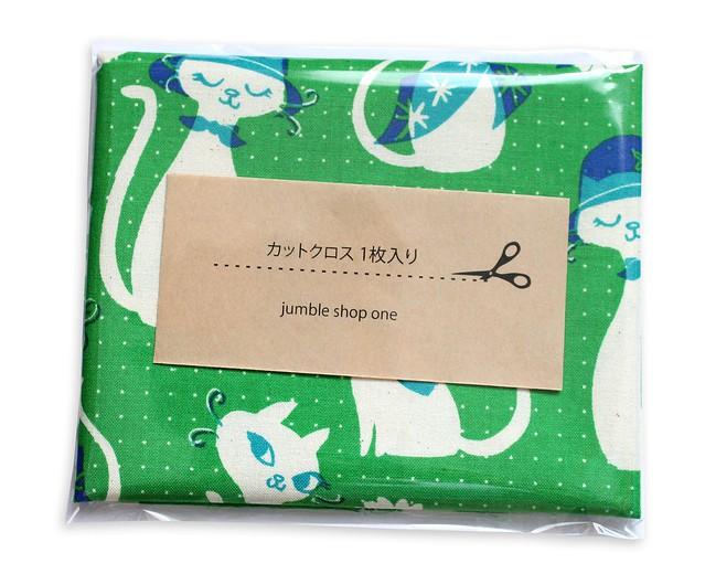 カットクロス COTTON+STEEL Beauty Shop C6002-03 Fancy Cats Green