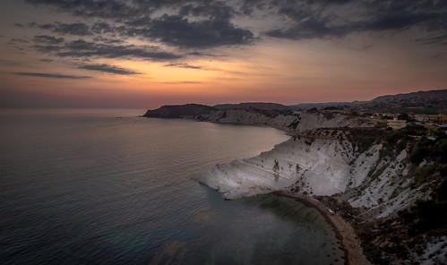 scala dei turchi agrigento sicily sunset drone seascape
