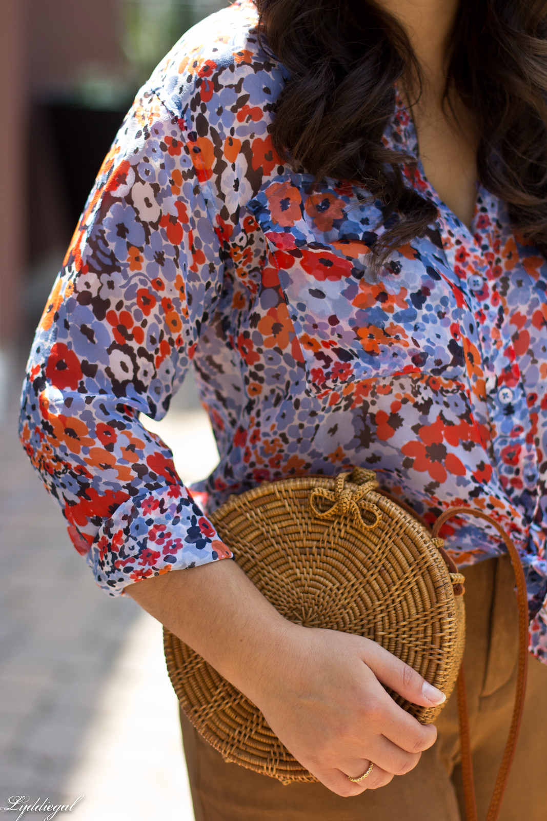floral equipment blouse, suede culottes, round rattan bag-8