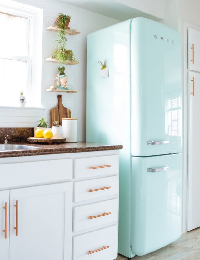 Mint Refrigerator White Kitchen Cabinets Rose Gold Hardware