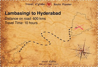 Map from Lambasingi to Hyderabad