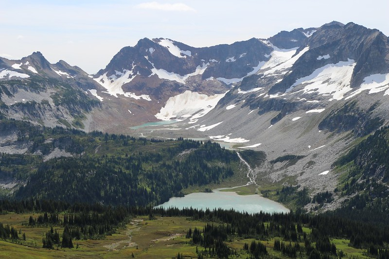 Spider Gap and the Lyman Lakes from high on the southwest ridge of Cloudy Peak