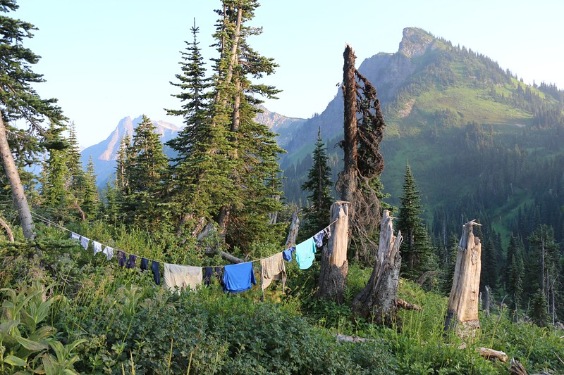 Back at camp at Buck Creek Pass we decided to do laundry - that's our clothesline with Liberty Cap, right