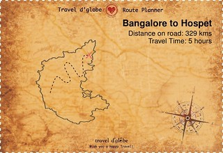 Map from Bangalore to Hospet