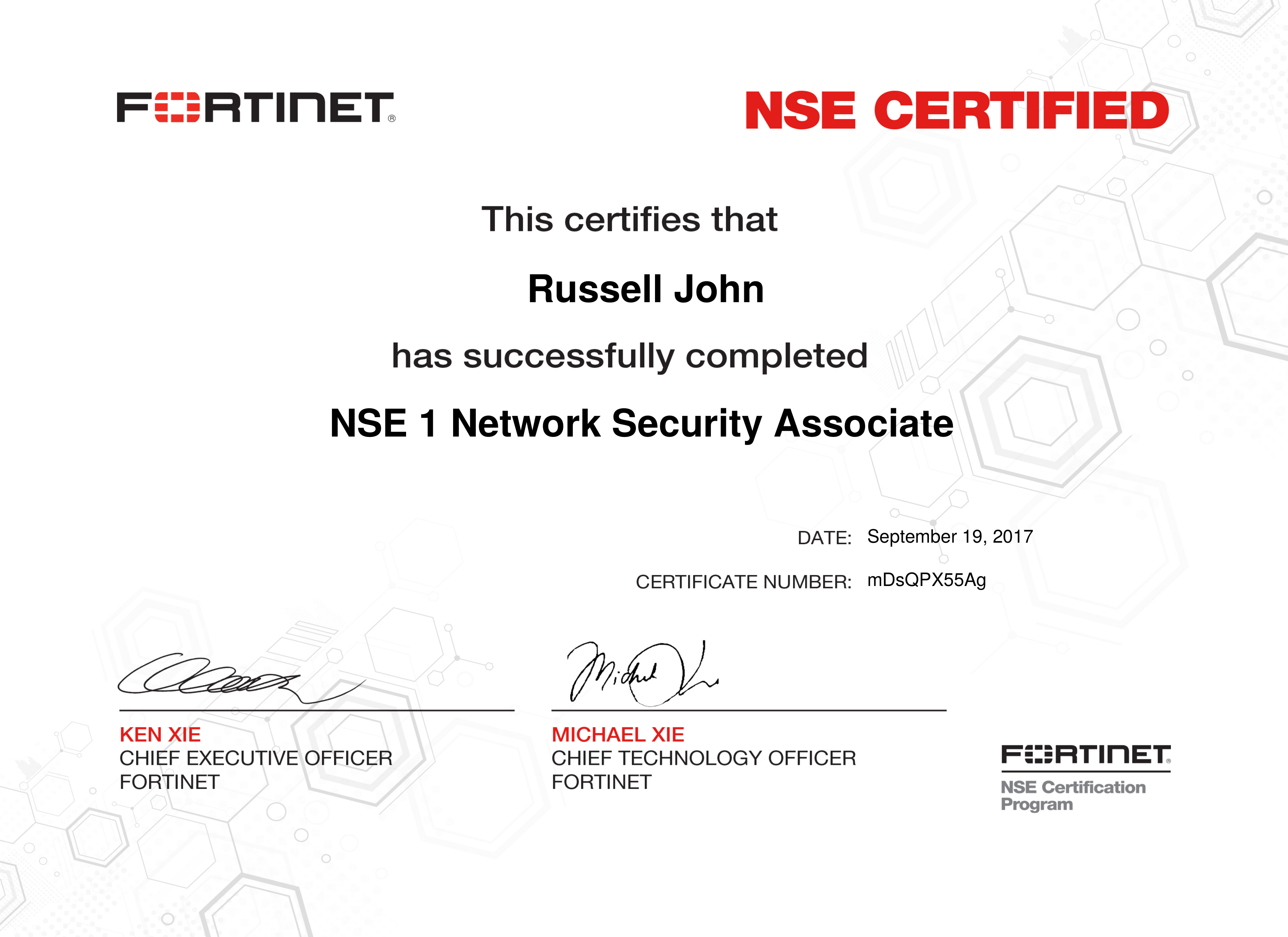 Fortinet NSE 1 Network Security Associate Certificate
