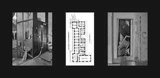 """Don`t use lift in case of fire"" Blueprint 1903: Cloak Room, Office, Winter Garden, Music Room, Dining Hall, Elevator / 2017 Elevators abandoned Planentwurf Parterre: Garderobe Bureau Wintergarten Salon Musikzimmer Speisesaal Anrichte Lift / Lifte 2017"