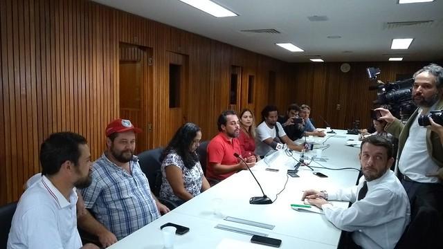 Coletiva de imprensa na ALMG aconteceu no início desta tarde - Créditos: Reprodução