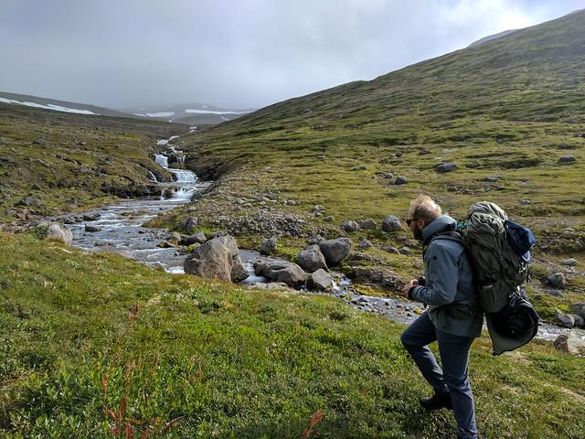 Hiking near Veiðileysufjörður in Hornstrandir