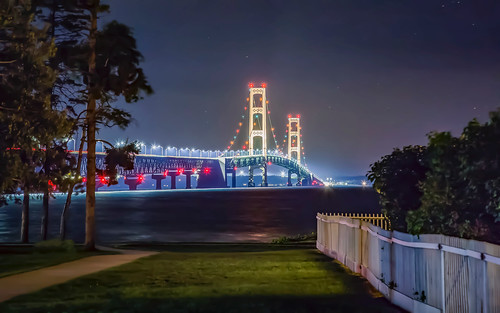 happy fence friday mackinac michigan bridge low light stars sky lighthouse path shore lake huron sea seascape landscape architecture canon 6d eos dslr white fenced trees nature serene reflections colors
