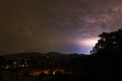 Lightning flashes over Moraga and Oakland Hills
