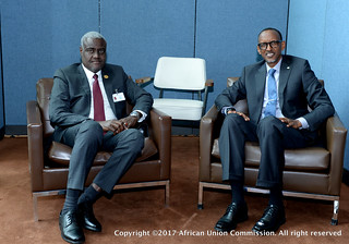 AUC Chairperson H.E Mr. Moussa Faki Mahamat meets with Rwandan President Paul Kagame New York Sep.19.2017