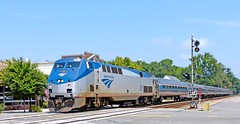 """Amtrak: Around ten minutes late, locomotive 48 heads the southbound """"Palmetto"""" across the Highway 54 crossing in Ashland, VA"""