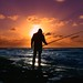 Fisherman at sunset - Tel-Aviv beach by Lior. L