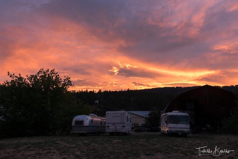 Sunset over RVs