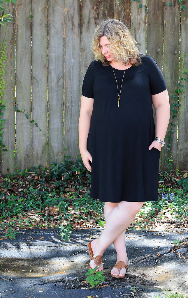 maternity black swing dress and medallion sandals 4