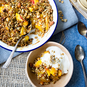 healthy peach crisp granola