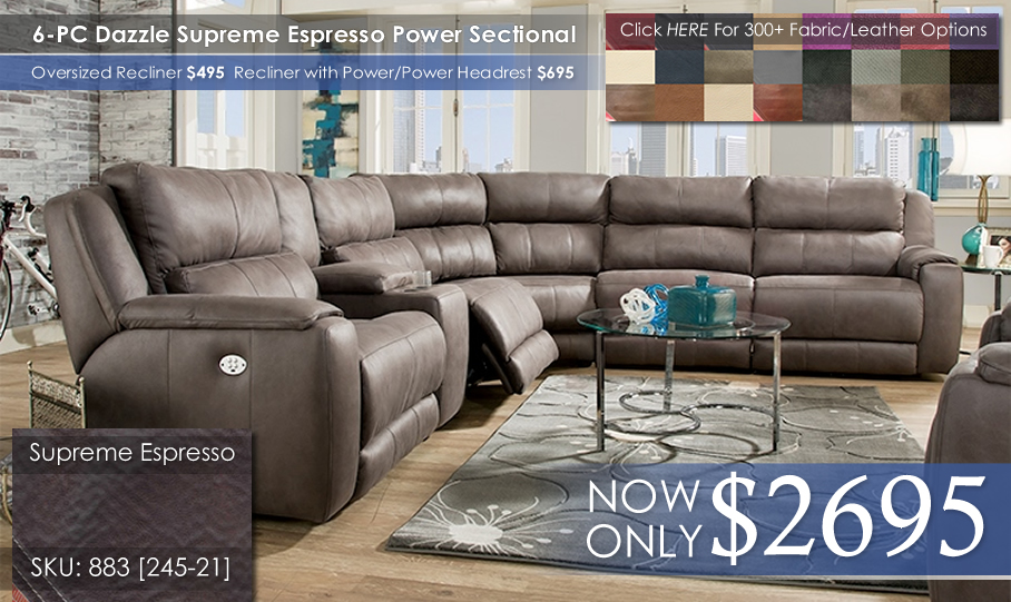 Dazzle 883 Espresso Sectional Power wColors