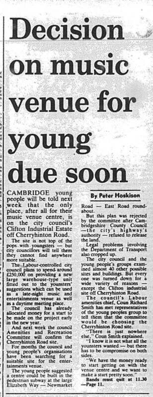 Plans for The Junction music/arts venue. )4 Nov 1986