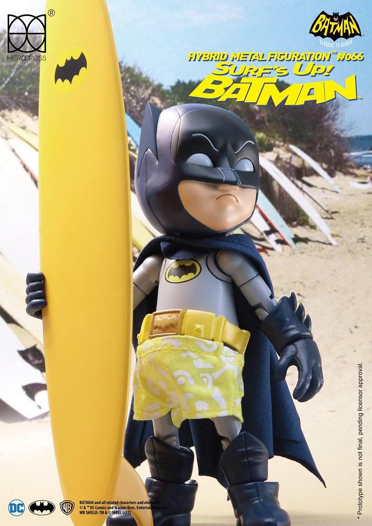 原來衝浪造型就只是套件黃色泳褲啊!!HEROCROSS HMF 系列 蝙蝠俠1966 經典電視劇版【衝浪蝙蝠俠】1966 Classic TV Series Surfs Up Batman HMF#066