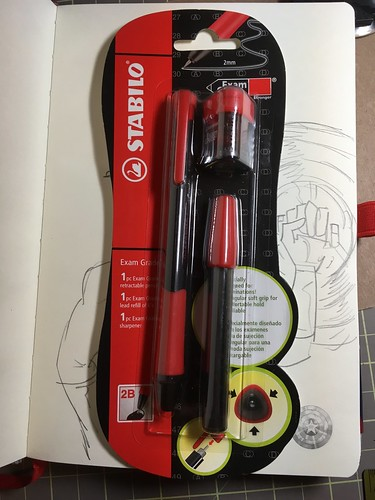 Stabilo Exam Grade pencil set, Maped Croc Croc sharpener, & Pyramidamerica blank journal