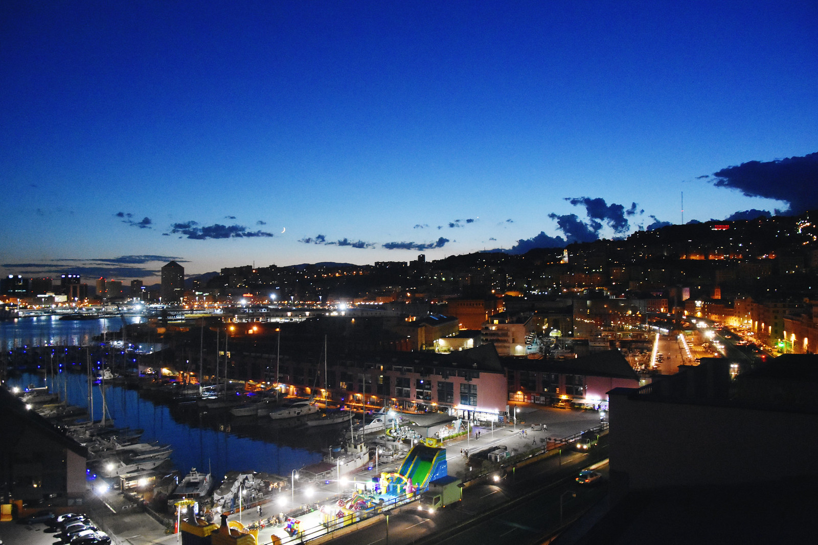 Genoa port in the night