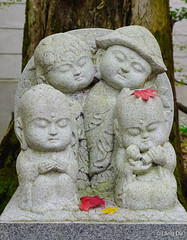Stone craft of monk doll at Japanese garden