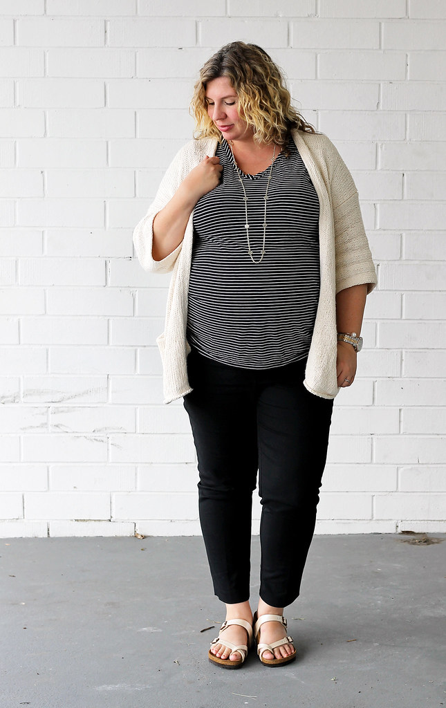 maternity black pants, black and white stripe tee, kimono cardigan, birkenstocks 3