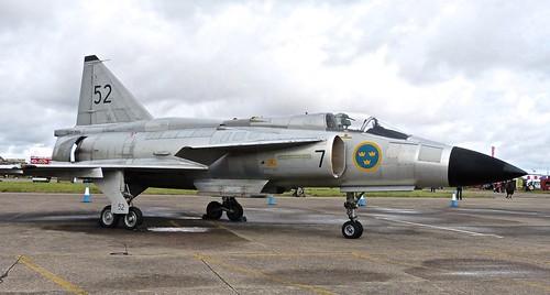 SE-DXN /  37098 'Swedish Air Force Historic Flight' SAAB AJS-37 Viggen  on 'Dennis Basford' railsroadsrunways.blogspot.co.uk'