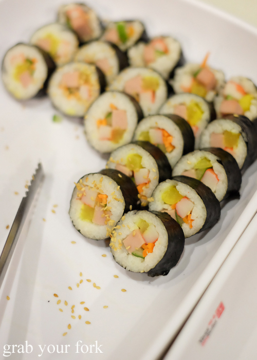 Kimbap Korean sushi at Yass Korean BBQ Buffet in Strathfield Sydney