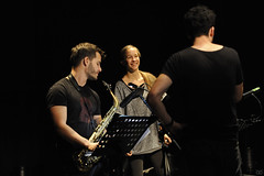 Ben Van Gelder, Veronika Harcsa and Antoine Pierre preparing for NextApe at théâtre Marni, 14 September 2017