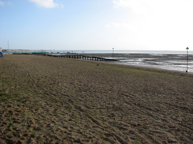 The beach east of Southend