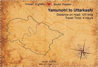 Map from Yamunotri to Uttarkashi