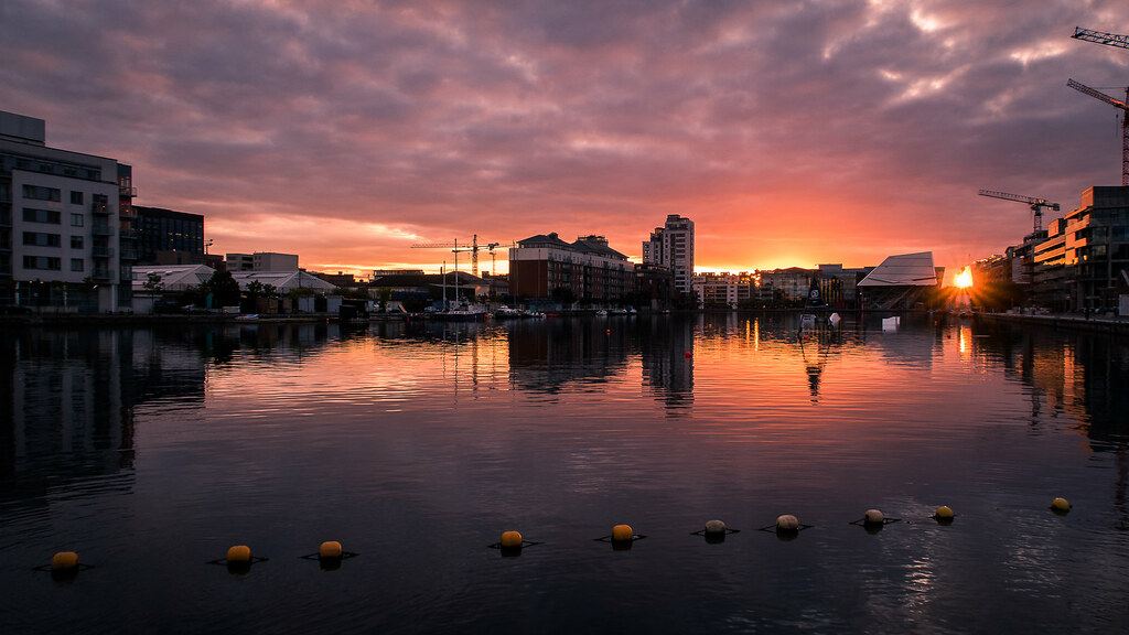 Sunset on Grand Canal Dock, Dublin, Ireland picture
