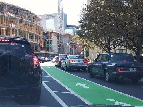 Approaching Colesville Road, northbound, new cycletrack on Cedar Street, Silver Spring, Maryland