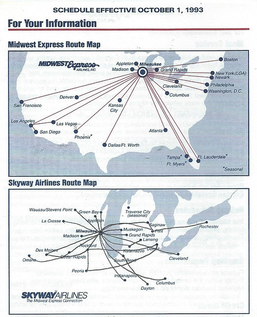 Midwest Express Route Map