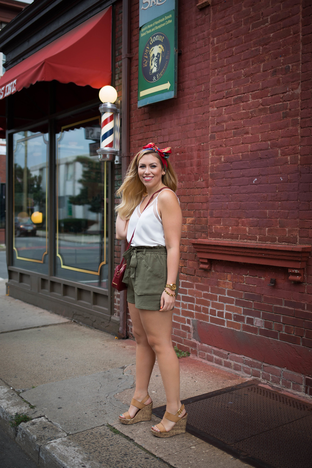 White Tank Vintage Hair Scarf Olive Green Shorts Nude Wedges | Easy Summer Outfit