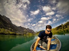 Borrowed a #boat! An incredibly still #lake in the #mountains. I'd dive in if it weren't 5C!!!!
