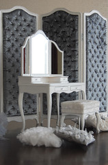 """Set """"Marquise"""" dressing table, pouf, screen 1:4 LE2 №1"""